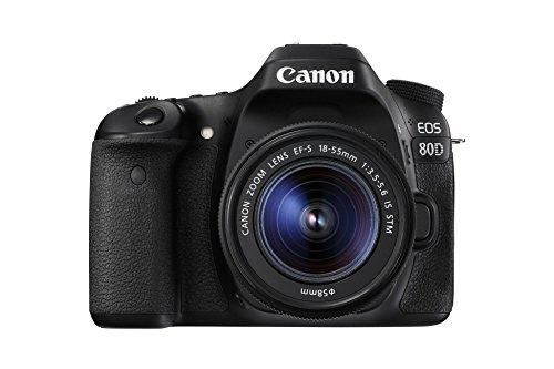 "Canon EOS 80D - Cámara réflex Digital de 24.2 MP (Pantalla táctil de 3"", Video Full HD, Enfoque automático, WiFi) Negro - Kit Cuerpo con Objetivo Canon EF 18-55 mm f/3.5-5.6 IS"