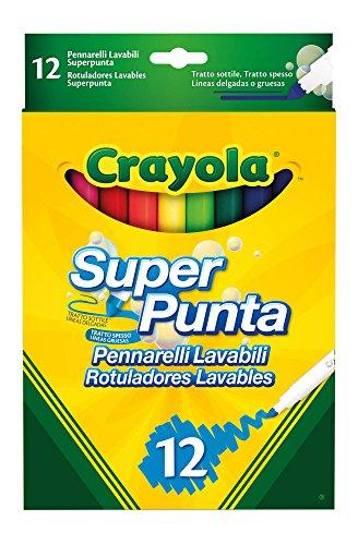 Crayola SuperPunta, 12 Plumas de color lavable