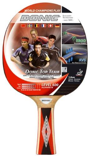 Donic-Schildkröt Top Teams 600 de - Pala de Ping Pong (1,6 mm, 1,8 mm), Color Rojo, Talla 265x150x23 mm