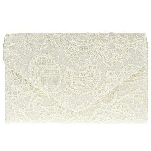 Ladies Satin Lace Clutch Bag Shoulder Chain Elegant Wedding Evening Womens - Ivory