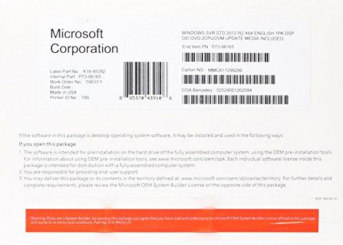 Microsoft Windows Server 2012 Standard 64-bit - Sistemas operativos (Original Equipment Manufacturer (OEM), 32 GB, 0,5 GB, Pentium, 1,4 GHz, Inglés)