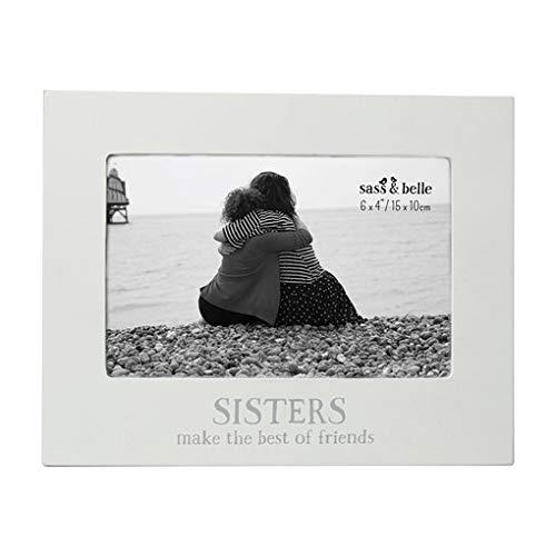 Sisters Photo Frame With Wording White Glass MDF Freestanding