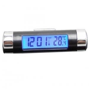 c626552113fe Stonges Fácil Conjunto Pantalla LCD digital de luz azul Reloj despertador  del coche Termómetro W Abrazadera