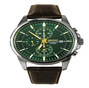 dbc90fc8887c Seiko Reloj Cronógrafo para Hombre de Cuarzo con Correa en Cuero SNAF09P1