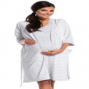 502d790ac Zeta Ville - Premamá camisón set bata embarazo lactancia de rayas - mujer -  190c