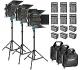 Neewer Kit de 3-Pack 660 LED Video Luz Regulable Bi-color con Parasol y 1,83-centímetro Soporte de Luz,6-Pack 6600mAh Battería Li-ion Recargable y Cargador para Fotografía Estudio YouTube Video(Azul)