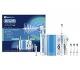 Oral-B - Estación de cuidado bucal con Oral-B PRO 1000 mango de cepillo eléctrico + Oxyjet irrigador con tecnología Braun, 4 cabezales Oxyjet, 2 cabezales de recambio