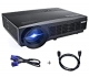 Proyector Full HD, Proyectores LED 1080P Proyector Video 3300 Lúmenes WiMiUS T6 Projector LCD Home Cinema Contraste 3000:1 Videoproyector Apoyo 1920*1080 HDMI VGA USB SD para PC TV Juego Hogar PS4 XBOX-Negro