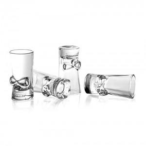 Final Touch - Juego de 4 Vasos de chupito, diseño de Calavera, Transparente