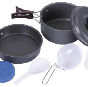 Fox Outdoor - Batería de cocina de aluminio y utensilios para camping, color gris