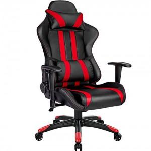 TecTake Silla de oficina ergonomica racing gaming con soporte lumbar - disponible en diferentes colores - (negro rojo   no. 402030)