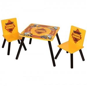 Kidsaw JCBTC - Juego de mesa y 2 sillas infantiles, diseño de JCB, color amarillo
