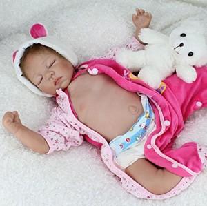 Nicery Reborn Baby Doll Renacer Bebé la Muñeca Vinil Simulación Silicona Suave 22 pulgadas 55cm Boca Magnética Natural Niña Niño Juguete vívido para 3 años + Oso el dormir de color rosa Cerrar los ojos