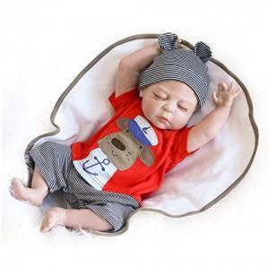 Nicery Reborn Baby Doll Renacer Bebé la Muñeca de Vinilo Duro de Silicona 22 Pulgadas 55cm Boca Niña Niño Impermeable Bañarse Juguete Boy Girl Toy RD56Z013BC