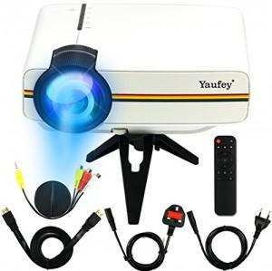 Yaufey Mini LED Proyector Multimedia Home Cinema Soporte PC portatil Smartphone Xbox Portable para cine en casa Teatro Entretenimiento y juegos, Regalo perfecto para Navidad